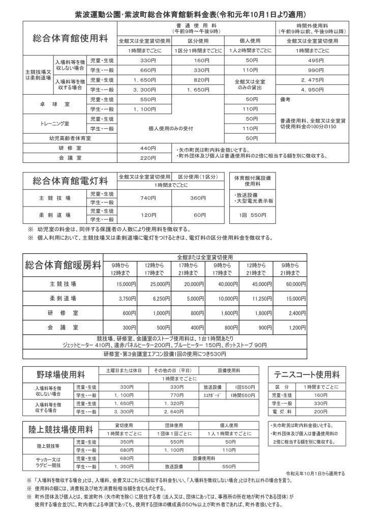 新料金表(令和1年10月から適用)